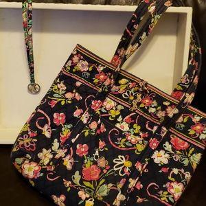 Vera Bradley Quilted Tote Bag & Matching Laniard